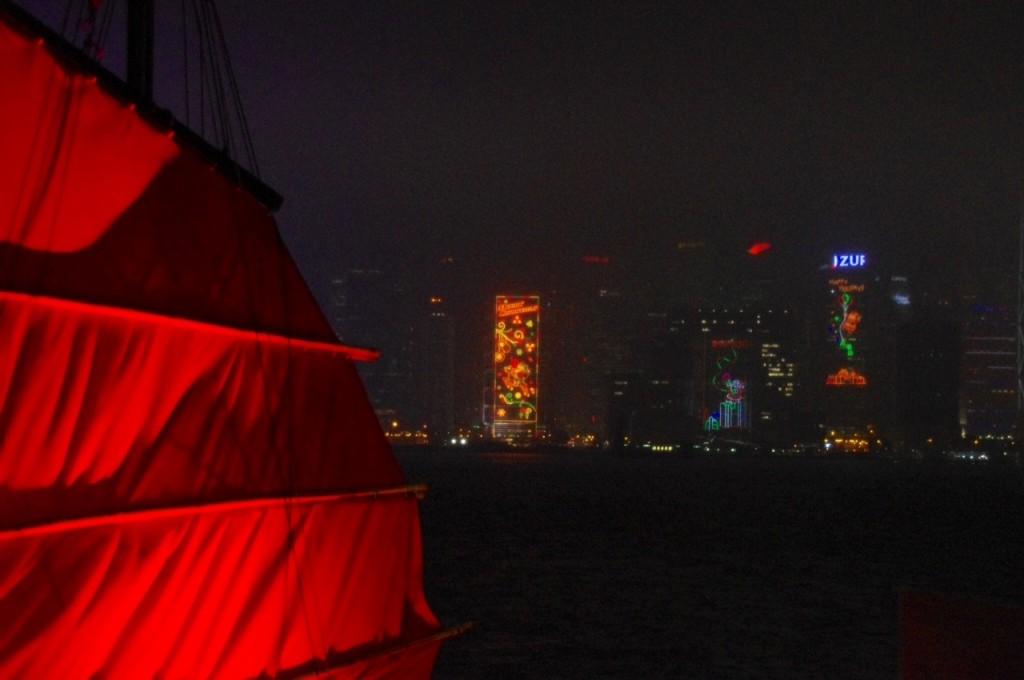 Weihnachtsstimmung über Hongkongs Hafen